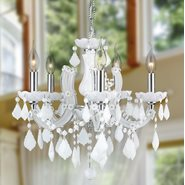 W83120C18-WH Catherine 5 Light Chrome Finish and White Crystal Chandelier - Discontinued