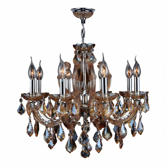 W83121C20-AM Catherine 6 Light Chrome Finish and Amber Crystal Chandelier