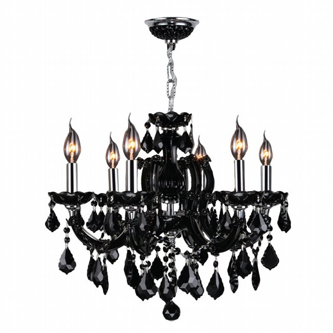 W83121C20-BL Catherine 6 light Chrome Finish with Black Crystal Chandelier