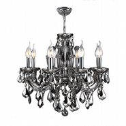 W83121C20-CH Catherine 6 Light Chrome Finish and Chrome Crystal Chandelier