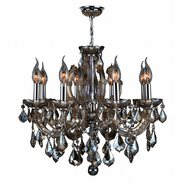 W83121C20-GT Catherine 6 Light Chrome Finish and Golden Teak Crystal Chandelier