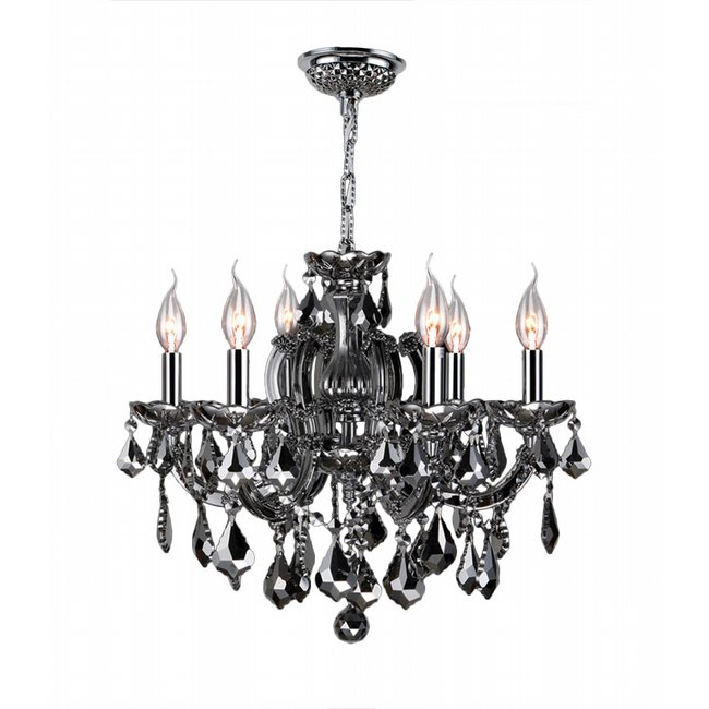 W83121C20-SM Catherine 6 Light Chrome Finish and Smoke Crystal Chandelier
