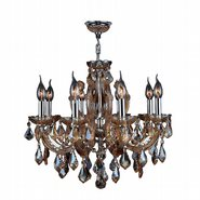 Catherine Collection 8 Light Chrome Finish and Amber Crystal Chandelier