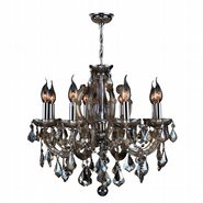 Catherine 8 Light Chrome Finish with Golden Teak Crystal Chandelier