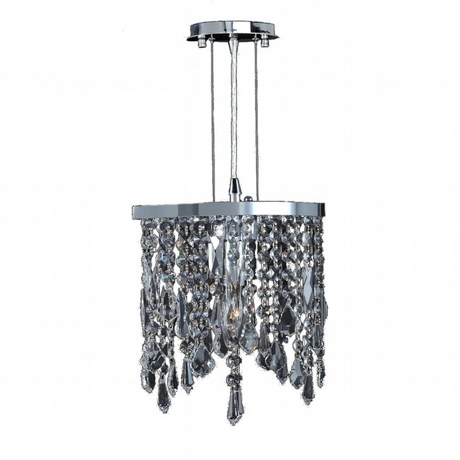 W83123C10-CL Fiona 1 Light Chrome Finish and Clear Crystal Pendant Light