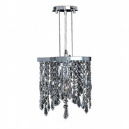 Fiona Collection 1 Light Chrome Finish and Clear Crystal Pendant Light