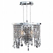 Fiona Collection 2 Light Chrome Finish and Clear Crystal Pendant Light