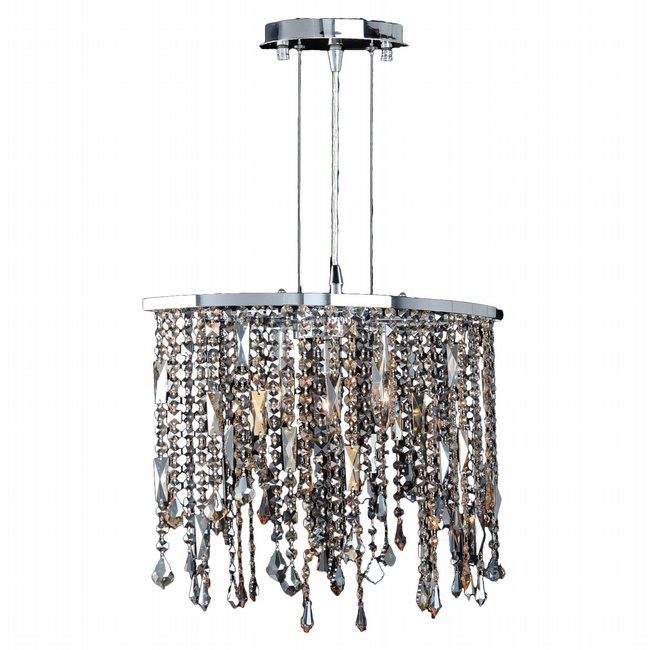W83124C18 Fiona 3 Light Chrome Finish and Multi-Color Crystal Pendant Light