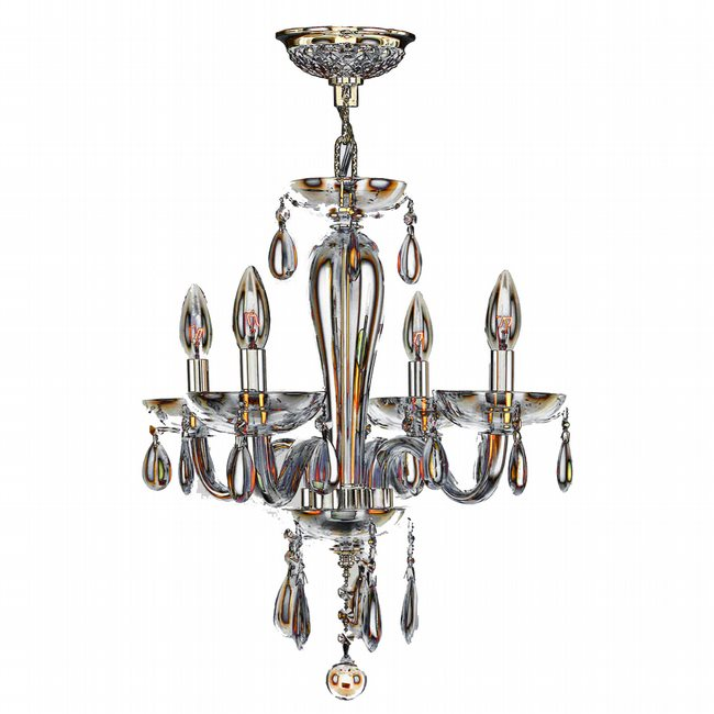 W83126C16-AM Gatsby 4 Light Chrome Finish and Amber Blown Glass Chandelier