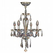Gatsby Collection 4 Light Chrome Finish and Amber Blown Glass Chandelier