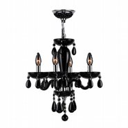 W83126C16-BL Gatsby 4 Light Chrome Finish and Black Blown Glass Mini Chandelier