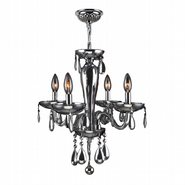 W83126C16-CH Gatsby 4 Light Chrome Finish and Chrome Blown Glass Mini Chandelier