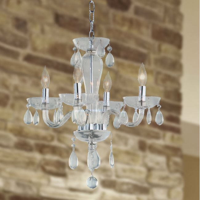 W83126C16-CL Gatsby 4 Light Chrome Finish and Clear Blown Glass Chandelier