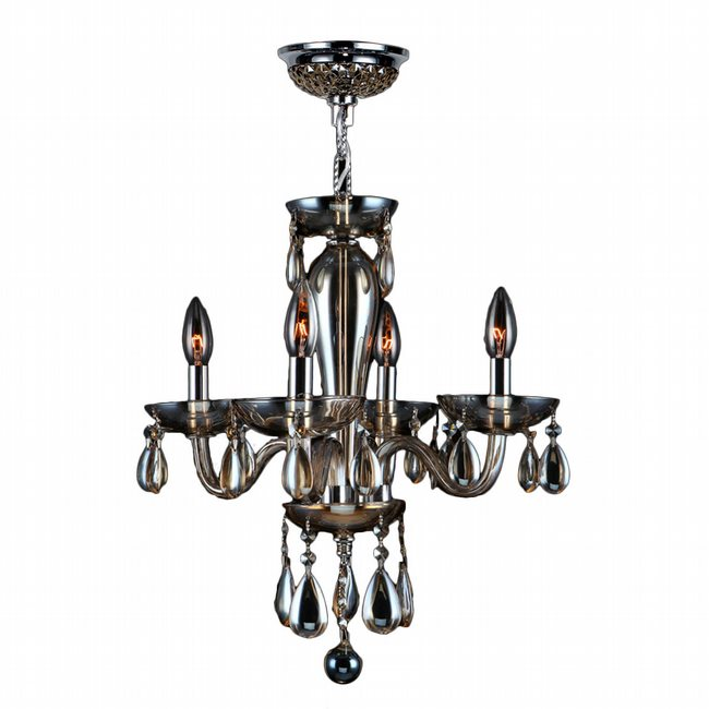 W83126C16-GT Gatsby 4 Light Chrome Finish and Golden Teak Blown Glass Mini Chandelier