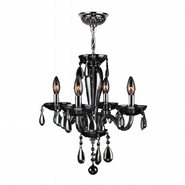 W83126C16-SM Gatsby 4 Light Chrome Finish and Smoke Blown Glass Mini Chandelier