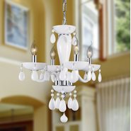 W83126C16-WH Gatsby 4 Light Chrome Finish and White Blown Glass Chandelier