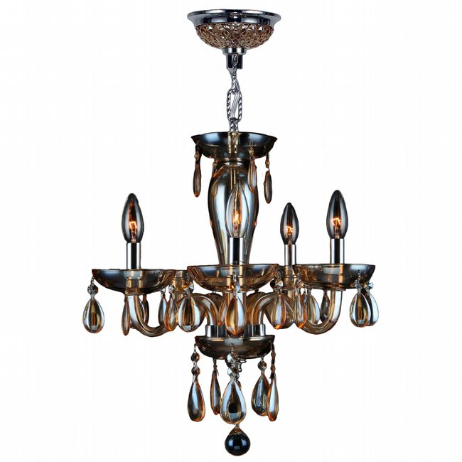 W83127C16-AM Gatsby 5 Light Chrome Finish and Amber Blown Glass Chandelier