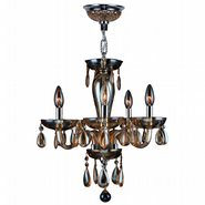 Gatsby Collection 5 Light Chrome Finish and Amber Blown Glass Chandelier
