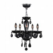 W83127C16-BL Gatsby 5 Light Chrome Finish and Black Blown Glass Chandelier