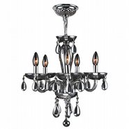 W83127C16-CH Gatsby 5 Light Chrome Finish and Chrome Blown Glass Chandelier