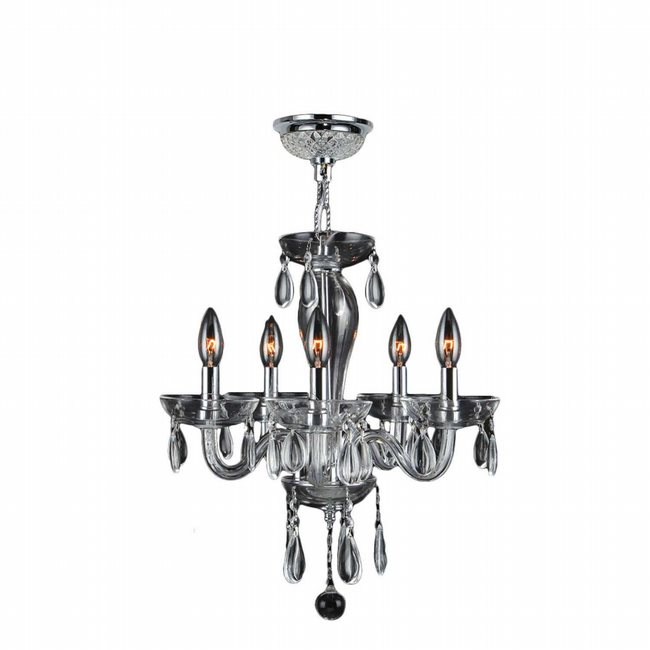 W83127C16-CL Gatsby 5 Light Chrome Finish and Clear Blown Glass Chandelier