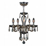 W83127C16-GT Gatsby 5 Light Chrome Finish and Golden Teak Blown Glass Chandelier
