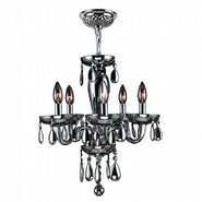 W83127C16-SM Gatsby 5 Light Chrome Finish and Smoke Blown Glass Chandelier