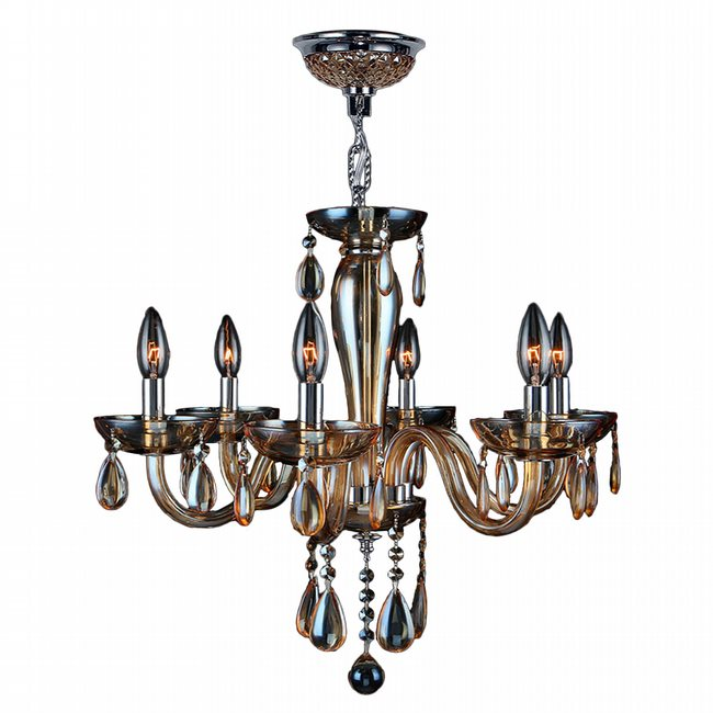 W83128C22-AM Gatsby 6 Light Chrome Finish and Amber Blown Glass Chandelier