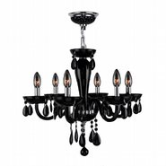 W83128C22-BL Gatsby 6 Light Chrome Finish and Black Blown Glass Chandelier