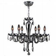 W83128C22-CH Gatsby 6 Light Chrome Finish and Chrome Blown Glass Chandelier