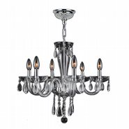 W83128C22-CL Gatsby 6 Light Chrome Finish and Clear Blown Glass Chandelier