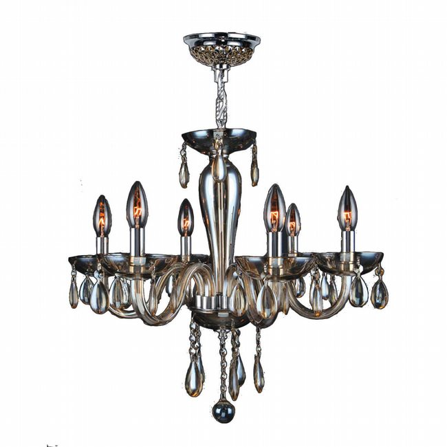W83128C22-GT Gatsby 6 Light Chrome Finish and Golden Teak Blown Glass Chandelier
