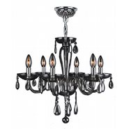W83128C22-SM Gatsby 6 Light Chrome Finish and Smoke Blown Glass Chandelier