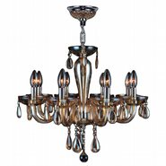 W83129C22-AM Gatsby 8 Light Chrome Finish and Amber Blown Glass Chandelier