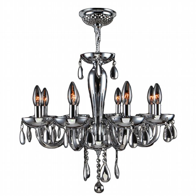 W83129C22-CH Gatsby 8 Light Chrome Finish and Chrome Blown Glass Chandelier