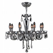 Gatsby 8 Light Chrome Finish and Chrome Blown Glass Chandelier
