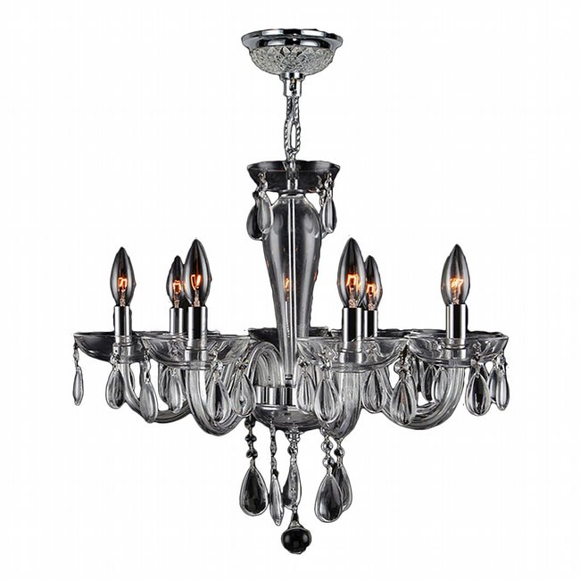 W83129C22-CL Gatsby 8 Light Chrome Finish and Clear Blown Glass Chandelier