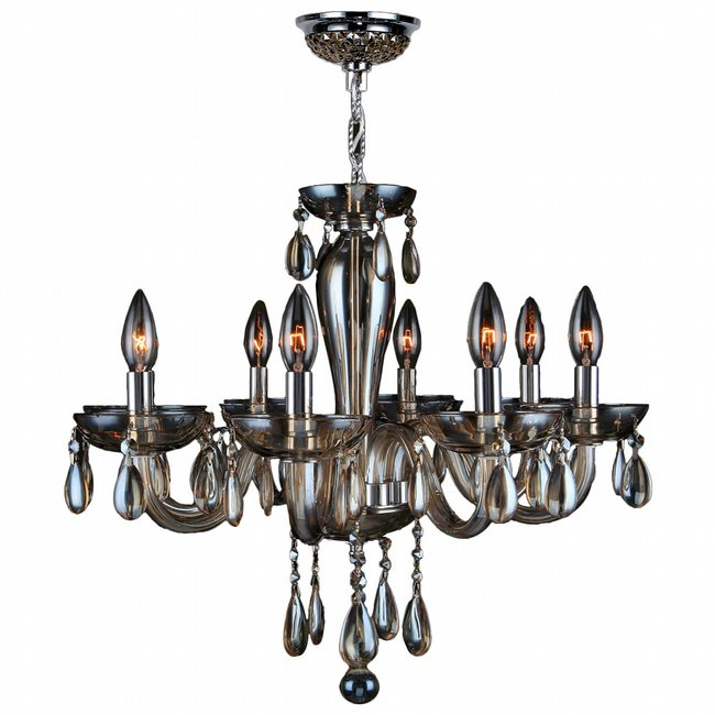 W83129C22-GT Gatsby 8 Light Chrome Finish and Golden Teak Blown Glass Chandelier