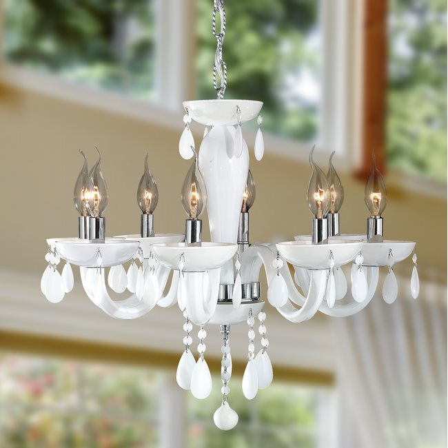 W83129C22-WH Gatsby 8 Light Chrome Finish and White Blown Glass Chandelier