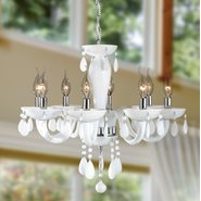 Gatsby Collection 8 Light Chrome Finish and White Blown Glass Chandelier