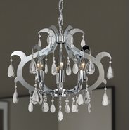 W83130C18 Henna 6 Light Chrome Finish and Clear Crystal Chandelier