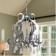 W83130C24 Henna 9 Light Chrome Finish and Clear Crystal Chandelier