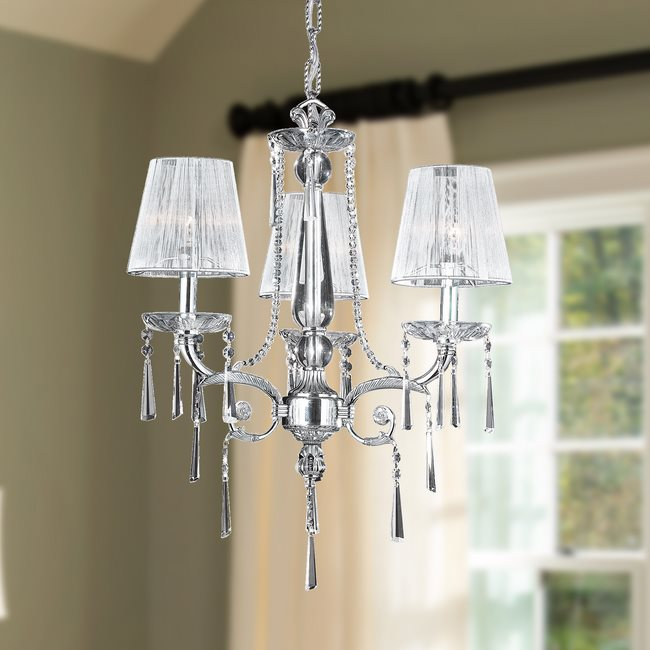 W83131C20 Orleans 3 light Chrome Finish with Clear Crystal Chandelier