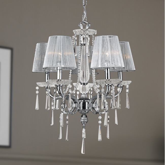W83131C21 Orleans 5 light Chrome Finish with Clear Crystal Chandelier