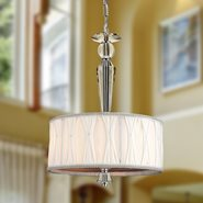 W83132C12 Gatsby 3 Light Chrome Finish and Clear Crystal Pendant Light with White Fabric Shade