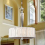 W83132C16 Gatsby 4 Light Chrome Finish and Clear Crystal Mini Pendant Light with White Fabric Shade