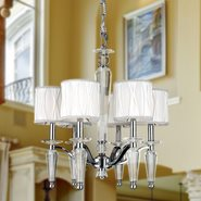 W83132C22 Gatsby 6 Light Chrome Finish and Clear Crystal Chandelier with White Fabric Shade