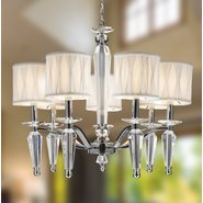 W83132C24 Gatsby 7 Light Chrome Finish Clear Crystal Chandelier