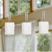 Gatsby Collection 1 Light Chrome Finish and Clear Crystal Mini Pendant Light with White Fabric Shade