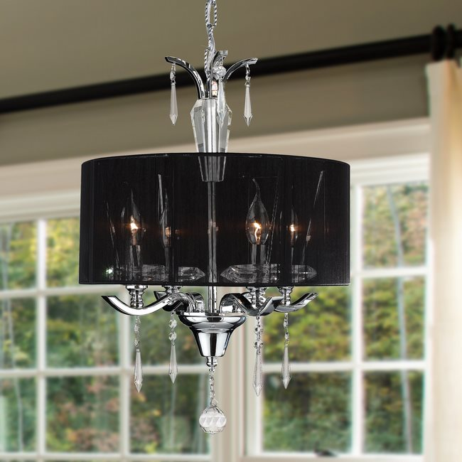 W83133C16 Gatsby 4 Light Chrome Finish and Clear Crystal Chandelier with Black String Drum Shade